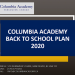 Columbia Academy Back to School Plan 2020 September